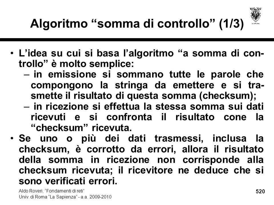 520 Aldo Roveri, Fondamenti di reti Univ. di Roma La Sapienza - a.a.