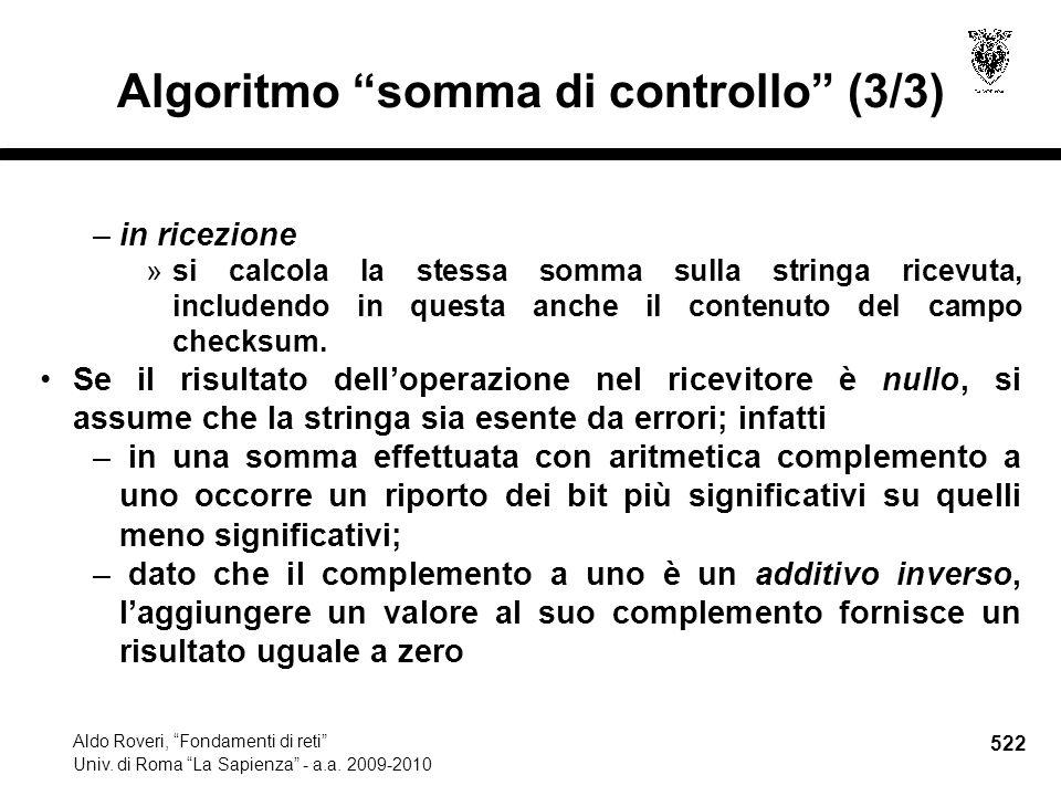 522 Aldo Roveri, Fondamenti di reti Univ. di Roma La Sapienza - a.a.