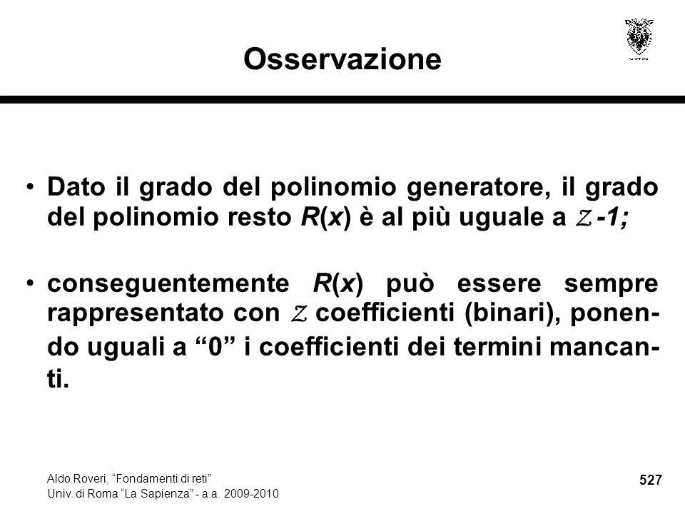 527 Aldo Roveri, Fondamenti di reti Univ. di Roma La Sapienza - a.a.