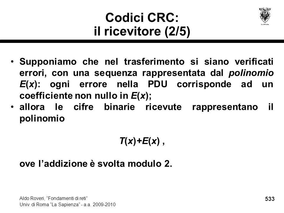 533 Aldo Roveri, Fondamenti di reti Univ. di Roma La Sapienza - a.a.