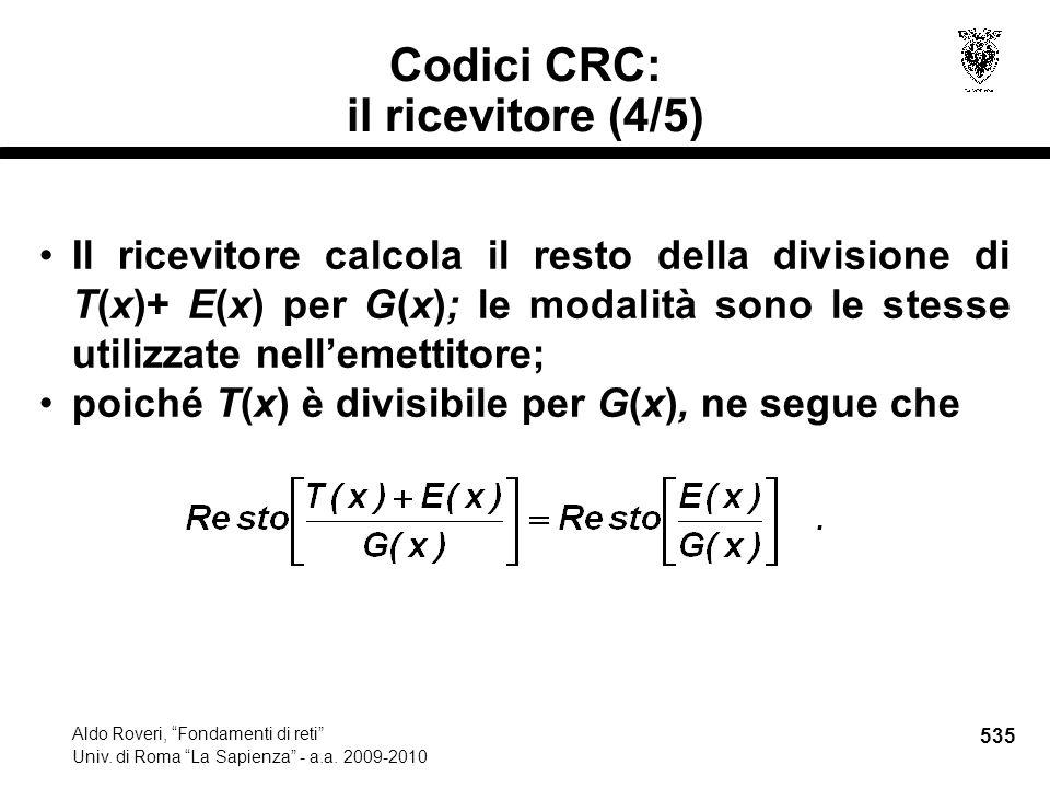535 Aldo Roveri, Fondamenti di reti Univ. di Roma La Sapienza - a.a.