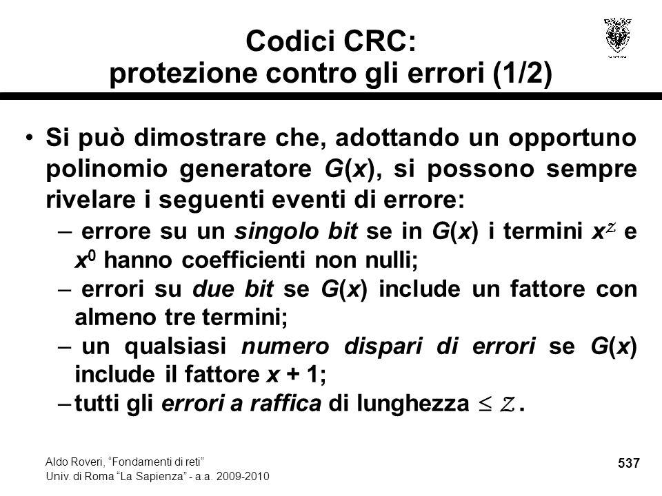 537 Aldo Roveri, Fondamenti di reti Univ. di Roma La Sapienza - a.a.