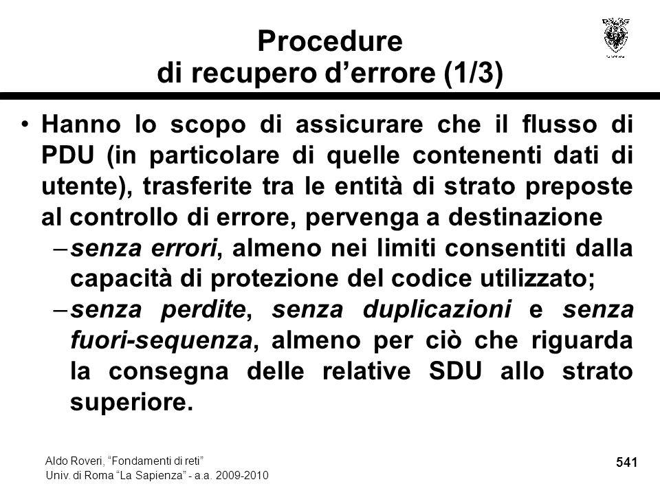 541 Aldo Roveri, Fondamenti di reti Univ. di Roma La Sapienza - a.a.
