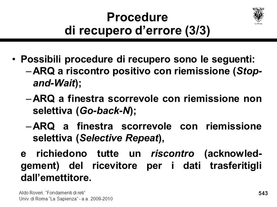 543 Aldo Roveri, Fondamenti di reti Univ. di Roma La Sapienza - a.a.