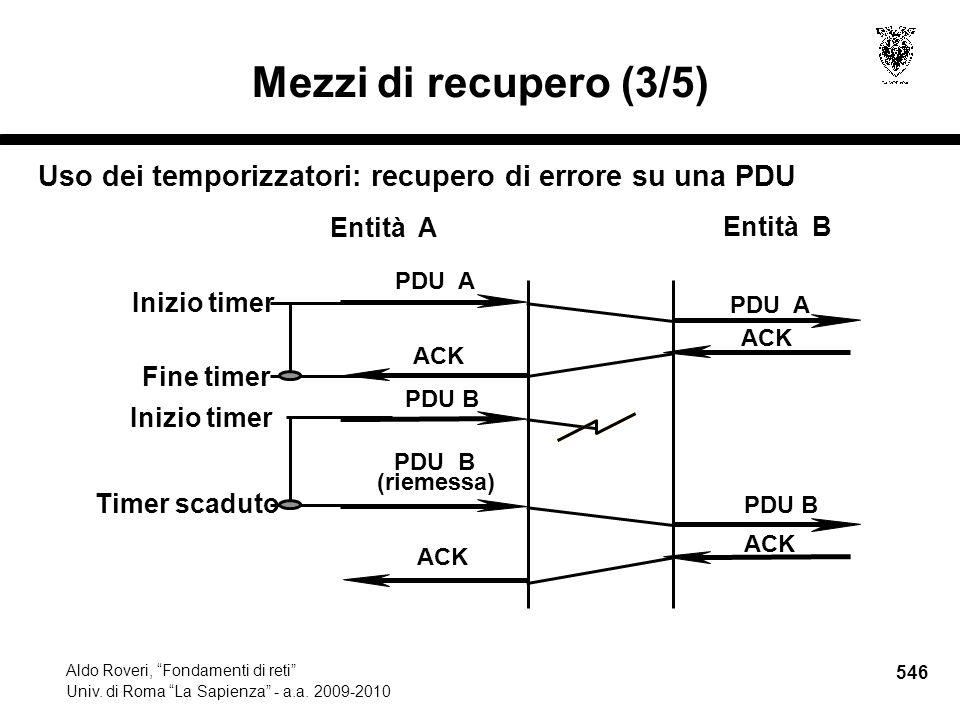 546 Aldo Roveri, Fondamenti di reti Univ. di Roma La Sapienza - a.a.