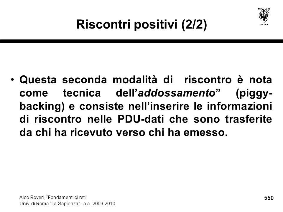 550 Aldo Roveri, Fondamenti di reti Univ. di Roma La Sapienza - a.a.