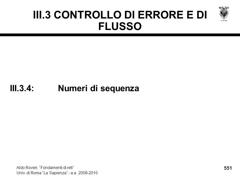 551 Aldo Roveri, Fondamenti di reti Univ. di Roma La Sapienza - a.a.