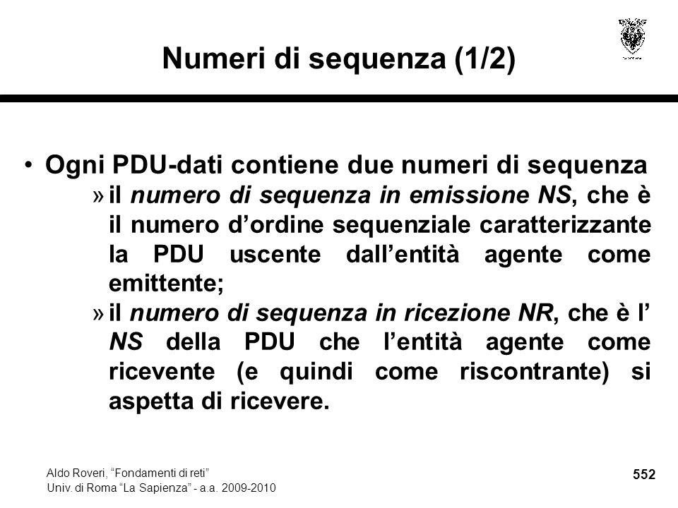 552 Aldo Roveri, Fondamenti di reti Univ. di Roma La Sapienza - a.a.