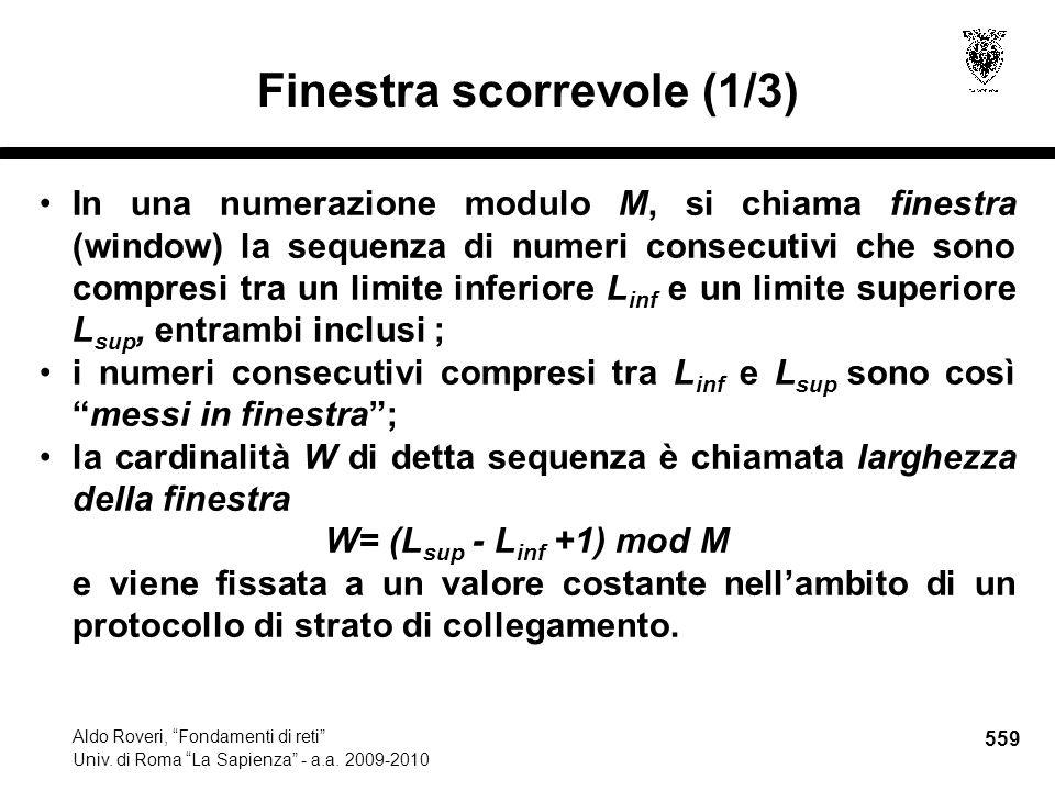 559 Aldo Roveri, Fondamenti di reti Univ. di Roma La Sapienza - a.a.