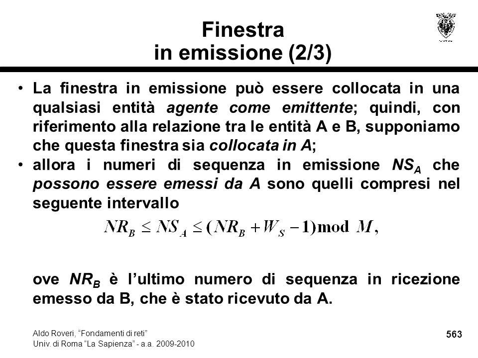 563 Aldo Roveri, Fondamenti di reti Univ. di Roma La Sapienza - a.a.