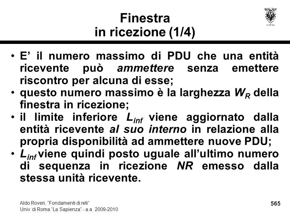 565 Aldo Roveri, Fondamenti di reti Univ. di Roma La Sapienza - a.a.