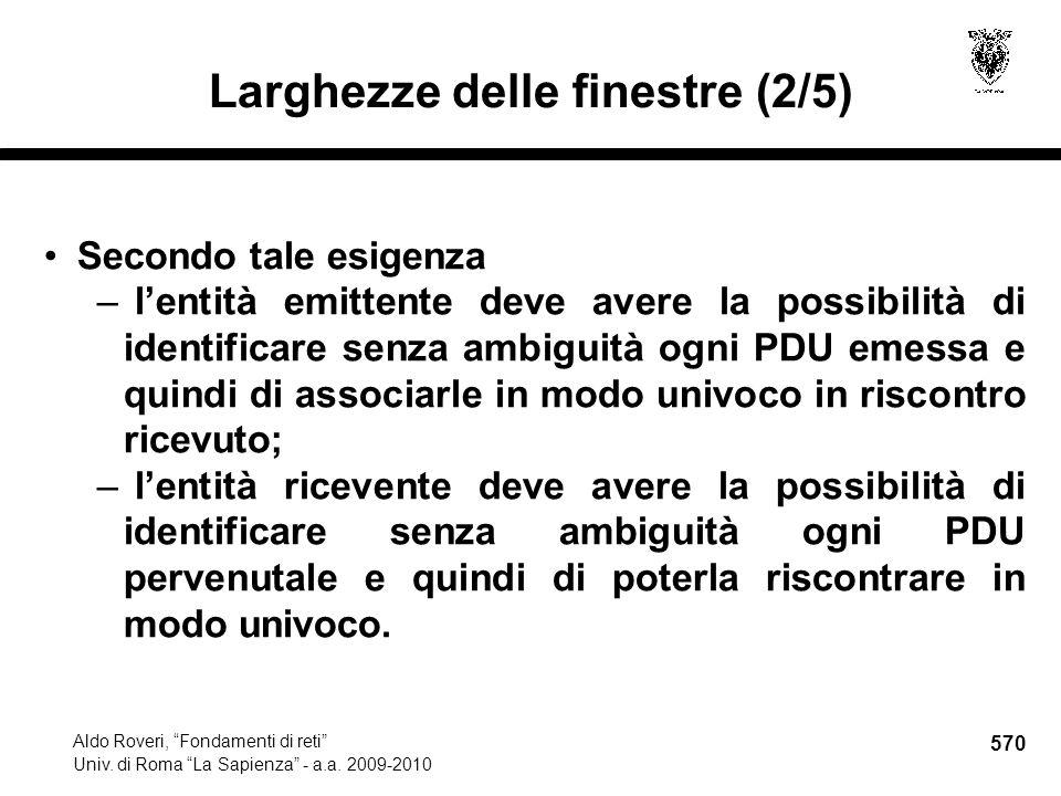 570 Aldo Roveri, Fondamenti di reti Univ. di Roma La Sapienza - a.a.