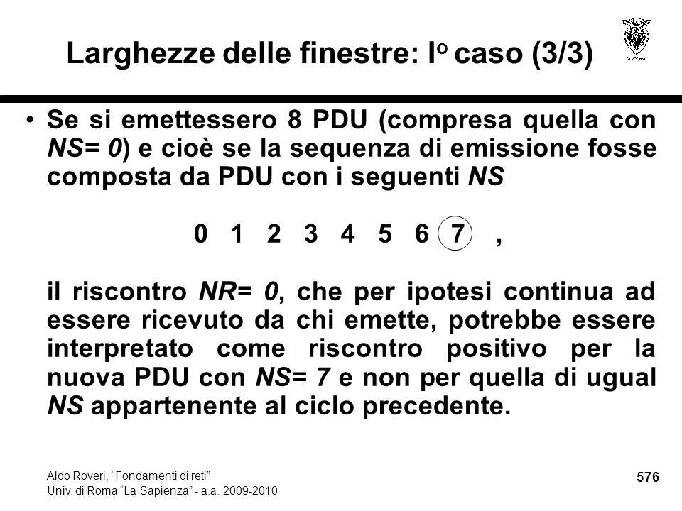 576 Aldo Roveri, Fondamenti di reti Univ. di Roma La Sapienza - a.a.