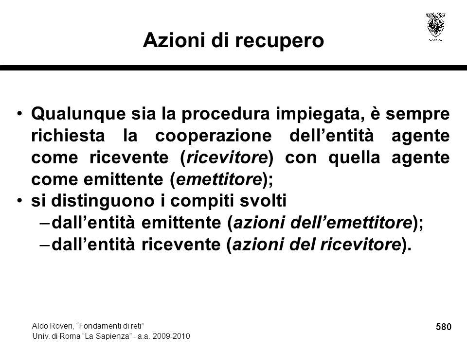 580 Aldo Roveri, Fondamenti di reti Univ. di Roma La Sapienza - a.a.