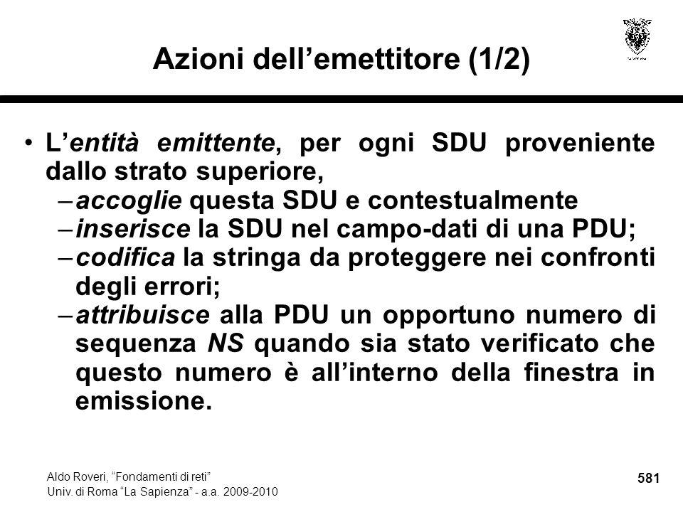 581 Aldo Roveri, Fondamenti di reti Univ. di Roma La Sapienza - a.a.