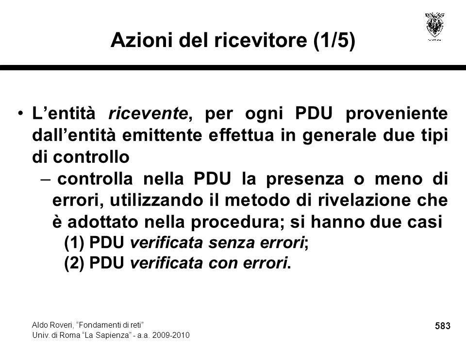 583 Aldo Roveri, Fondamenti di reti Univ. di Roma La Sapienza - a.a.