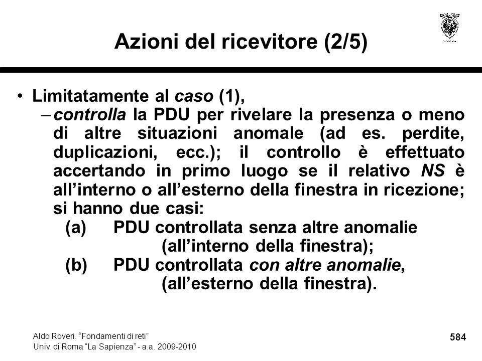 584 Aldo Roveri, Fondamenti di reti Univ. di Roma La Sapienza - a.a.