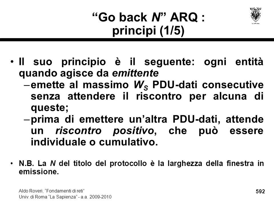 592 Aldo Roveri, Fondamenti di reti Univ. di Roma La Sapienza - a.a.