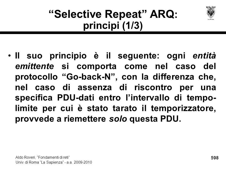 598 Aldo Roveri, Fondamenti di reti Univ. di Roma La Sapienza - a.a.