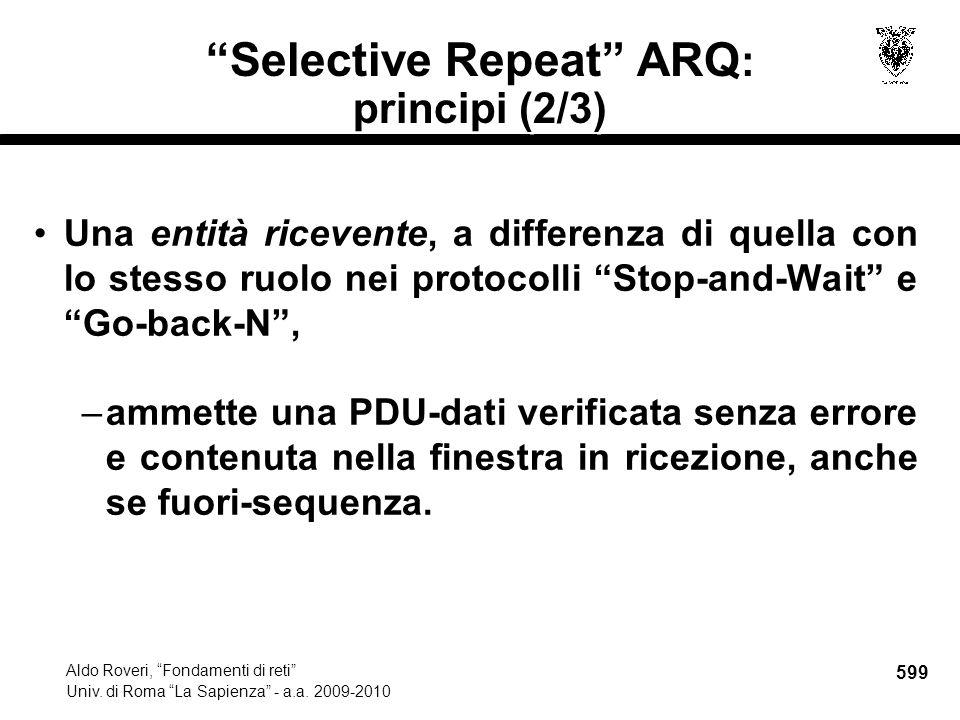 599 Aldo Roveri, Fondamenti di reti Univ. di Roma La Sapienza - a.a.