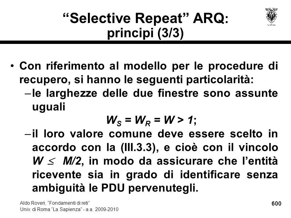 600 Aldo Roveri, Fondamenti di reti Univ. di Roma La Sapienza - a.a.