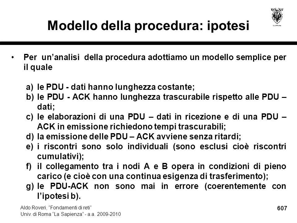 607 Aldo Roveri, Fondamenti di reti Univ. di Roma La Sapienza - a.a.