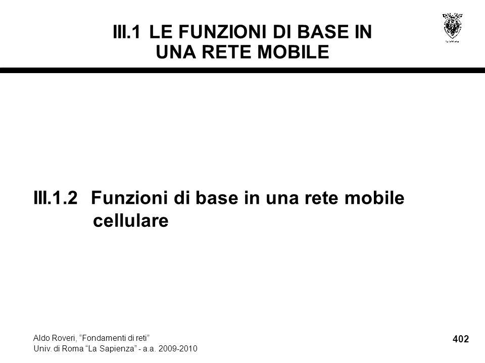 402 Aldo Roveri, Fondamenti di reti Univ. di Roma La Sapienza - a.a.