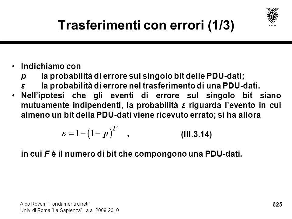 625 Aldo Roveri, Fondamenti di reti Univ. di Roma La Sapienza - a.a.