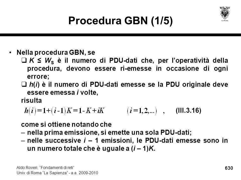 630 Aldo Roveri, Fondamenti di reti Univ. di Roma La Sapienza - a.a.