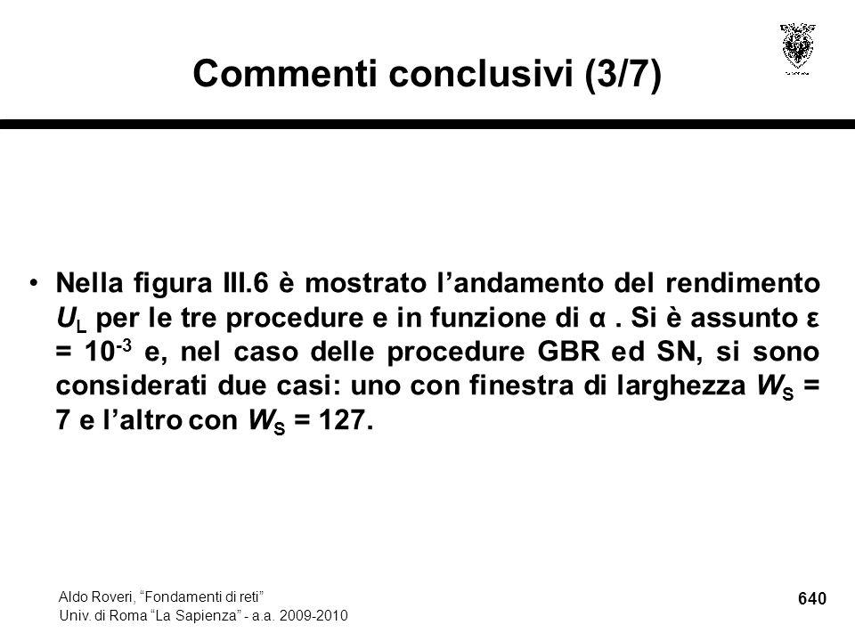 640 Aldo Roveri, Fondamenti di reti Univ. di Roma La Sapienza - a.a.