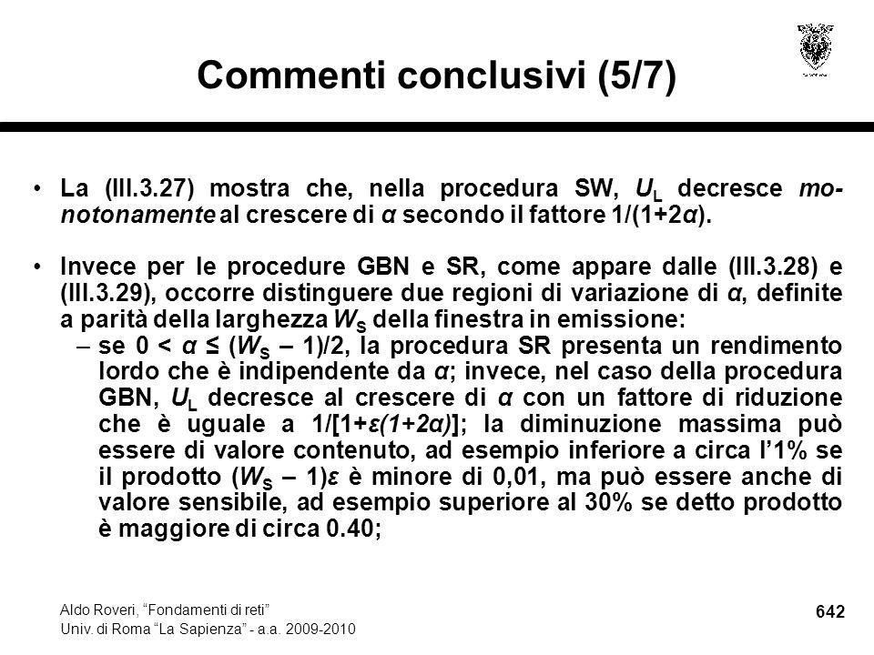 642 Aldo Roveri, Fondamenti di reti Univ. di Roma La Sapienza - a.a.