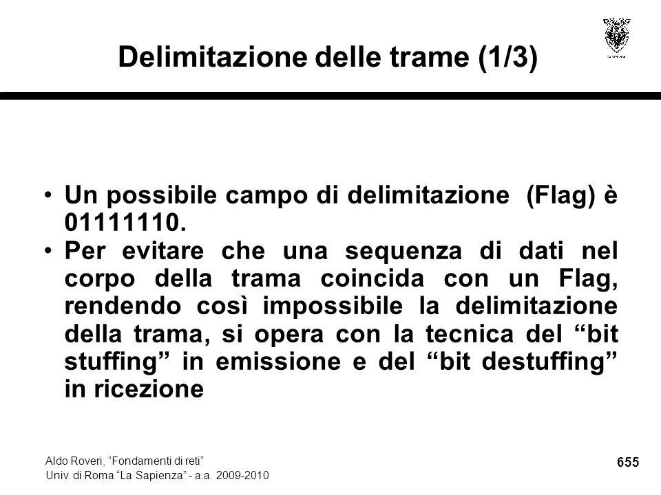 655 Aldo Roveri, Fondamenti di reti Univ. di Roma La Sapienza - a.a.