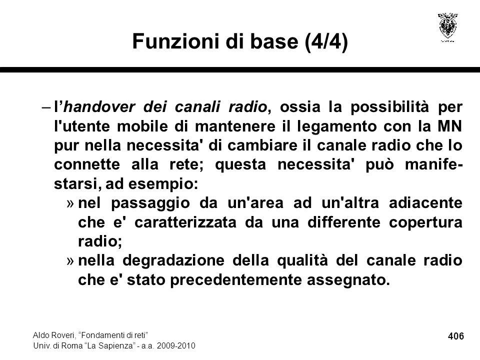 406 Aldo Roveri, Fondamenti di reti Univ. di Roma La Sapienza - a.a.