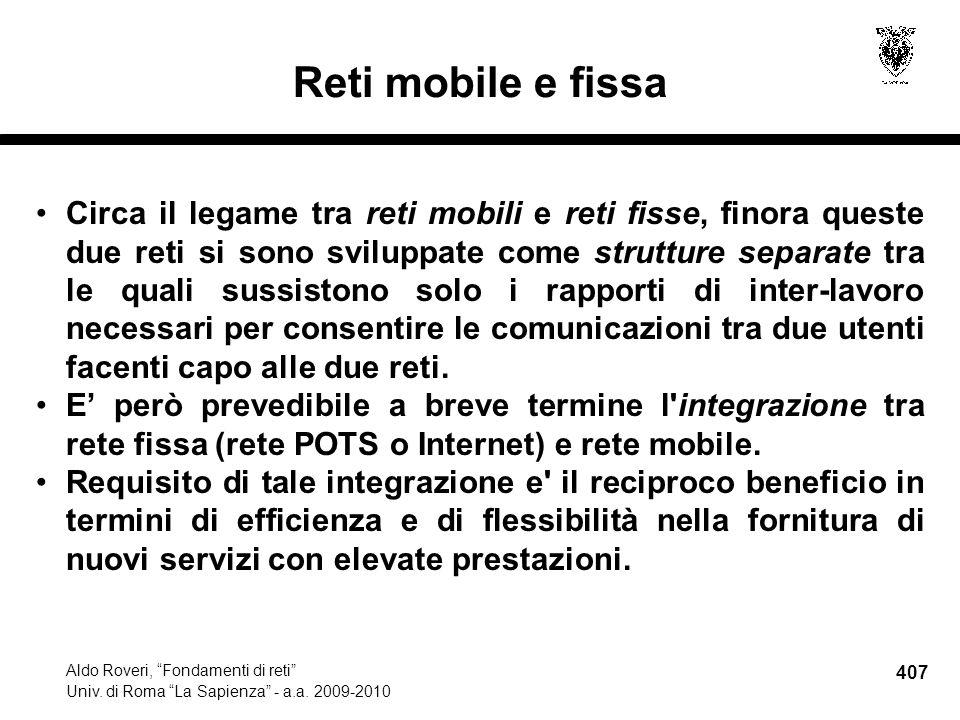 407 Aldo Roveri, Fondamenti di reti Univ. di Roma La Sapienza - a.a.