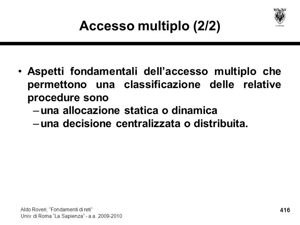 416 Aldo Roveri, Fondamenti di reti Univ. di Roma La Sapienza - a.a.