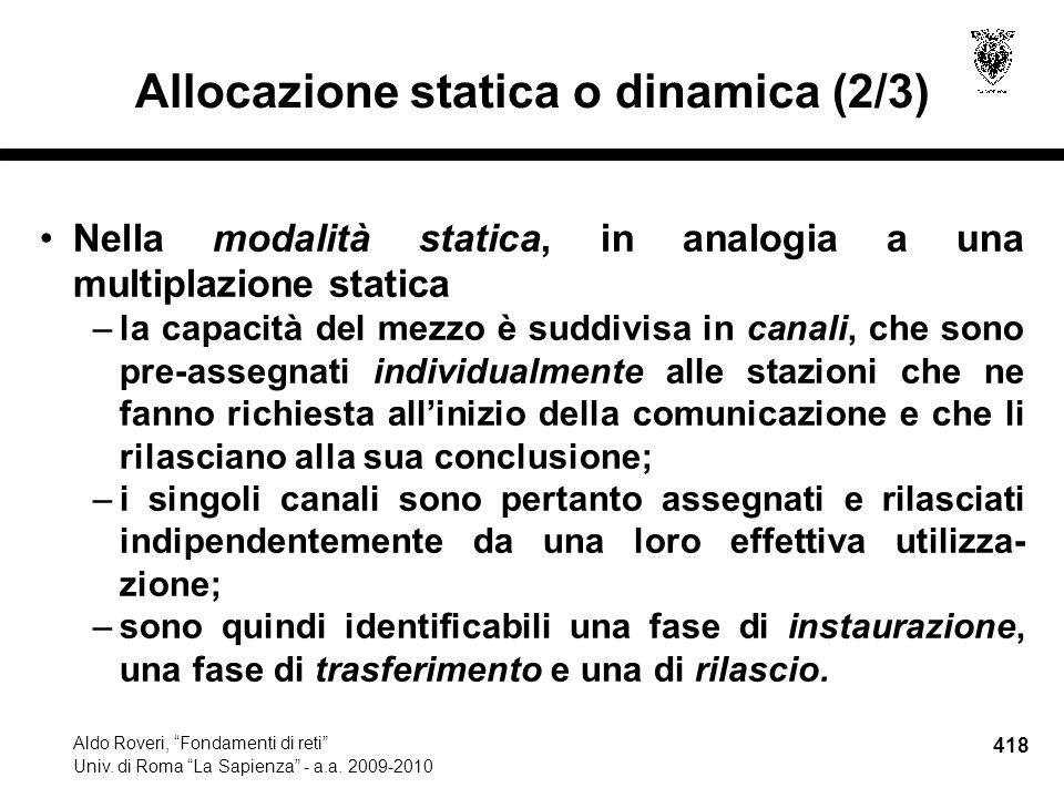418 Aldo Roveri, Fondamenti di reti Univ. di Roma La Sapienza - a.a.