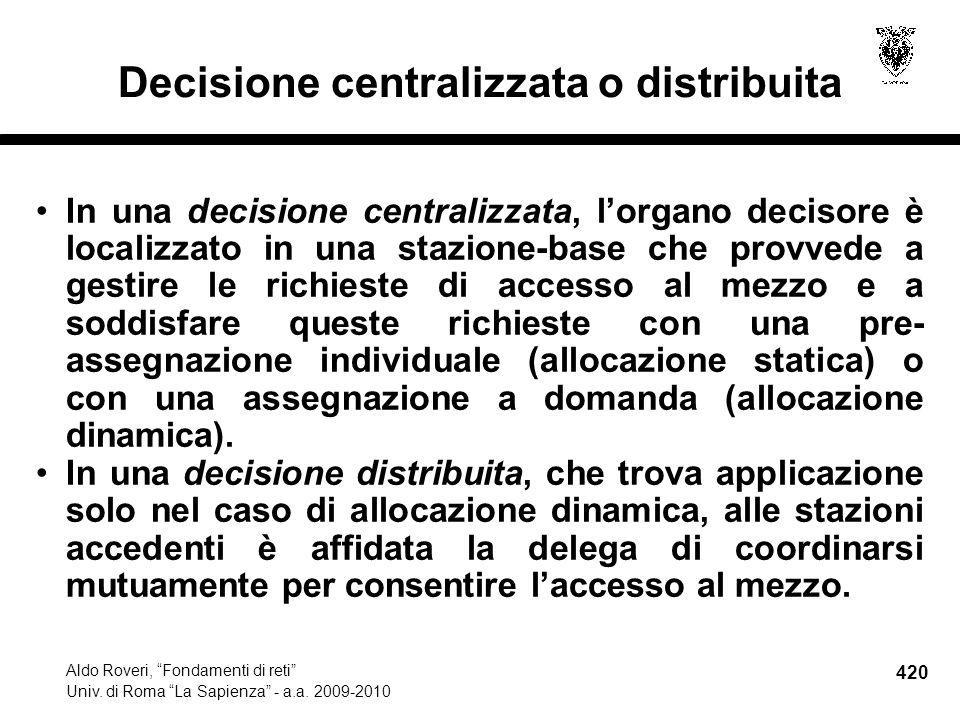420 Aldo Roveri, Fondamenti di reti Univ. di Roma La Sapienza - a.a.