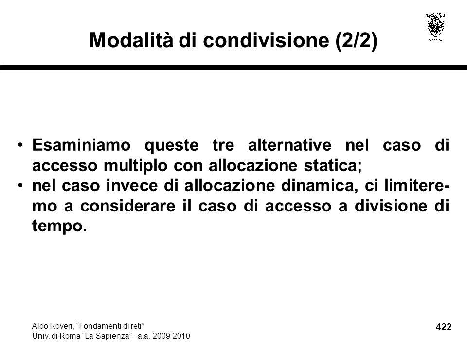 422 Aldo Roveri, Fondamenti di reti Univ. di Roma La Sapienza - a.a.