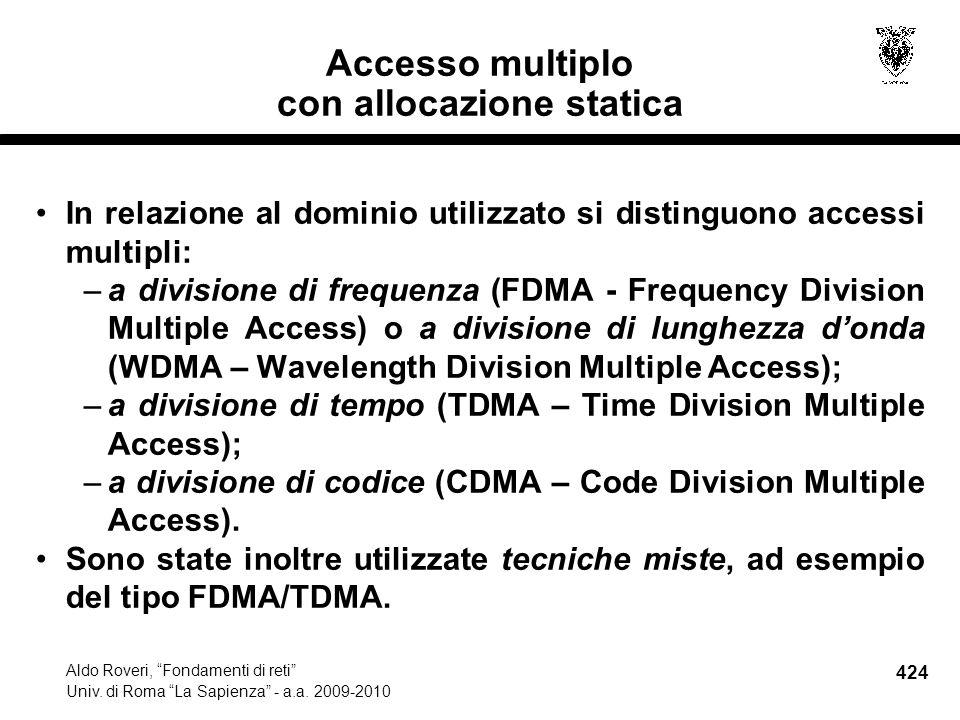 424 Aldo Roveri, Fondamenti di reti Univ. di Roma La Sapienza - a.a.