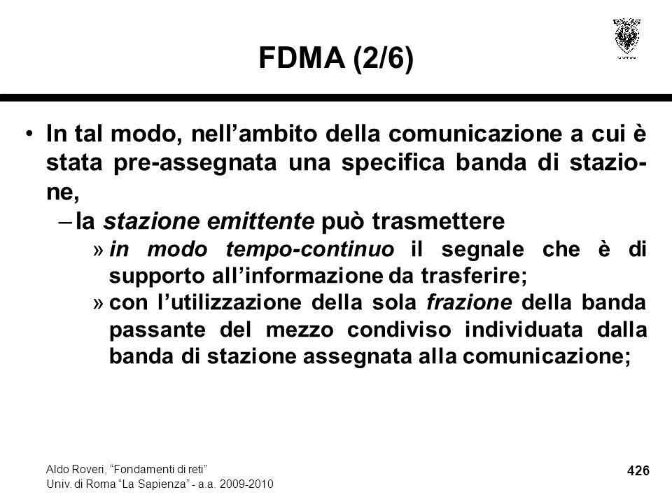 426 Aldo Roveri, Fondamenti di reti Univ. di Roma La Sapienza - a.a.