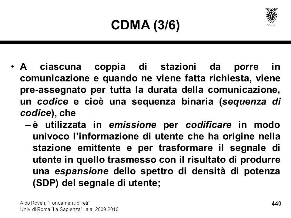 440 Aldo Roveri, Fondamenti di reti Univ. di Roma La Sapienza - a.a. 2009-2010 CDMA (3/6) A ciascuna coppia di stazioni da porre in comunicazione e qu