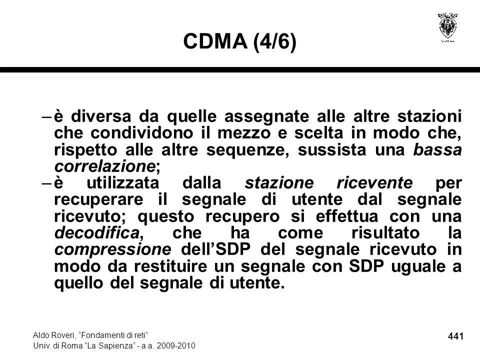 441 Aldo Roveri, Fondamenti di reti Univ. di Roma La Sapienza - a.a.