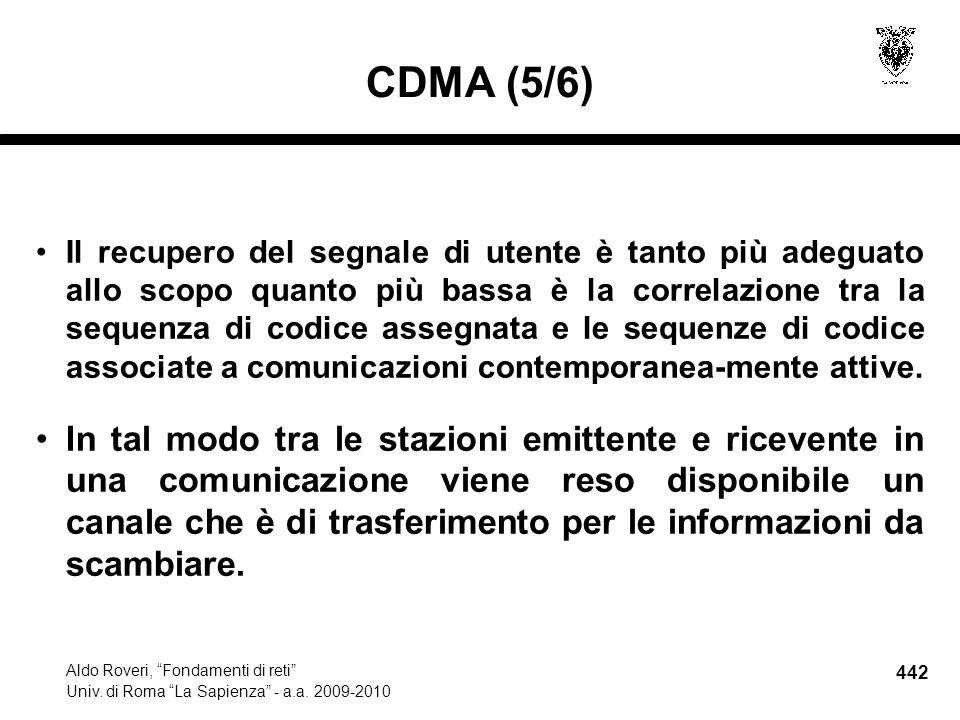 442 Aldo Roveri, Fondamenti di reti Univ. di Roma La Sapienza - a.a.