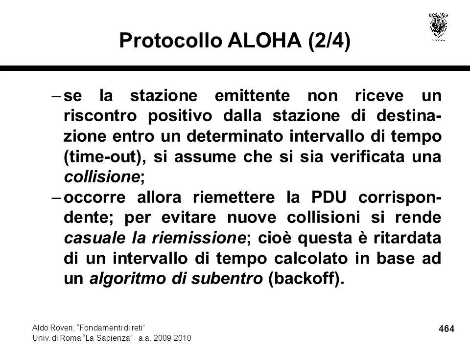 464 Aldo Roveri, Fondamenti di reti Univ. di Roma La Sapienza - a.a.