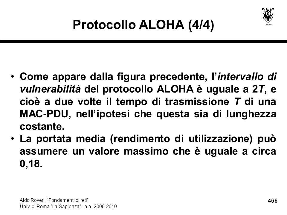 466 Aldo Roveri, Fondamenti di reti Univ. di Roma La Sapienza - a.a.