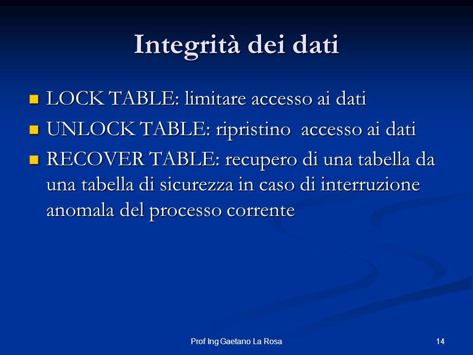 14Prof Ing Gaetano La Rosa Integrità dei dati LOCK TABLE: limitare accesso ai dati LOCK TABLE: limitare accesso ai dati UNLOCK TABLE: ripristino acces