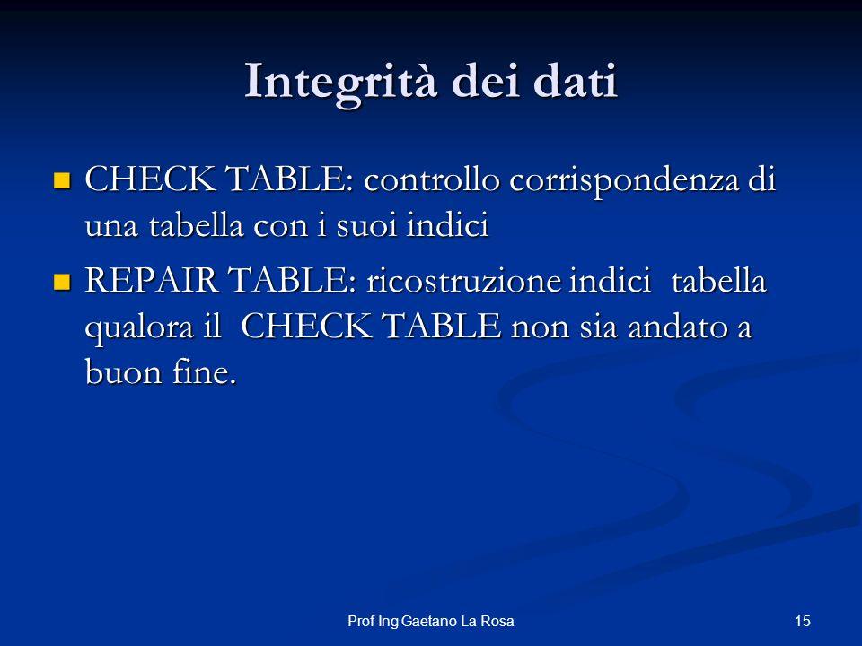 15Prof Ing Gaetano La Rosa Integrità dei dati CHECK TABLE: controllo corrispondenza di una tabella con i suoi indici CHECK TABLE: controllo corrispond
