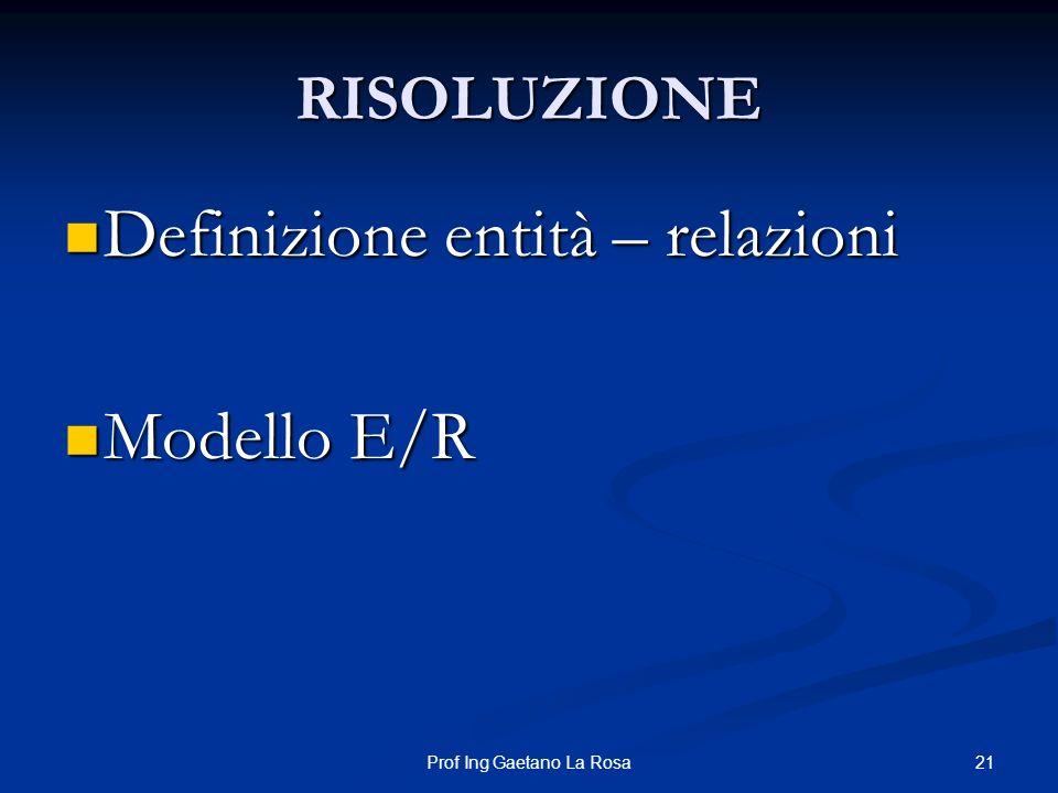 21Prof Ing Gaetano La Rosa RISOLUZIONE Definizione entità – relazioni Definizione entità – relazioni Modello E/R Modello E/R