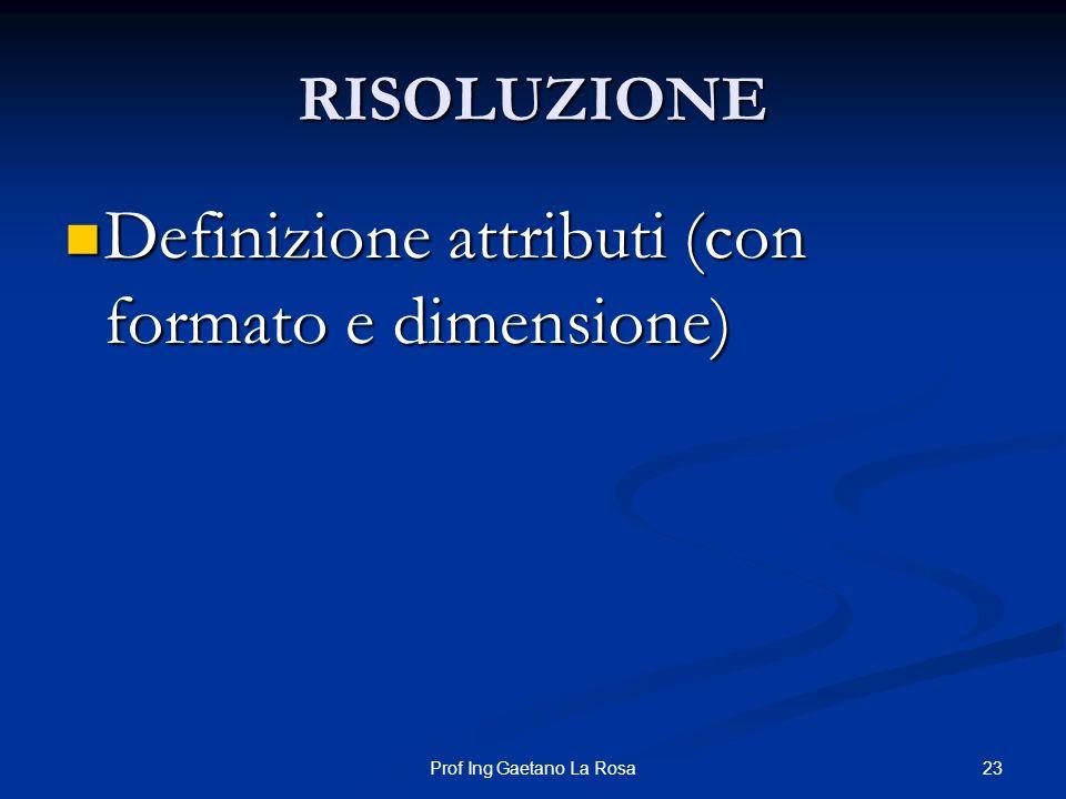 23Prof Ing Gaetano La Rosa RISOLUZIONE Definizione attributi (con formato e dimensione) Definizione attributi (con formato e dimensione)