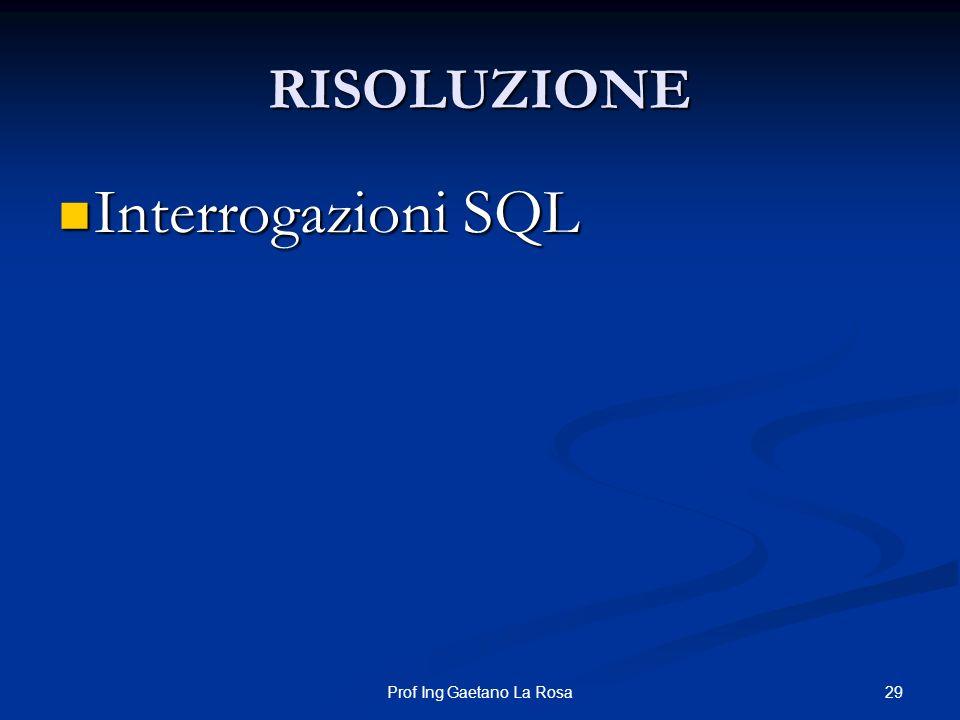 29Prof Ing Gaetano La Rosa RISOLUZIONE Interrogazioni SQL Interrogazioni SQL